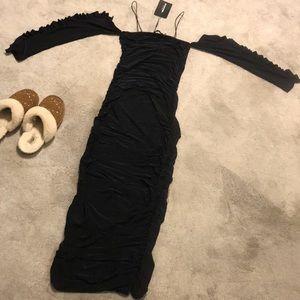 Prettylittlething Ruched Cold Shoulder Midi Dress